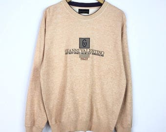 Rare!!! Vintage Gianni Valentino Italy Sweatshirt GV Spellout Big Logo Embroidery Pullover Jumper Sweater