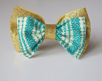 African Print & Glitter Double Bow Headband