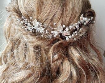 Silver bridal hair accessories - Lia