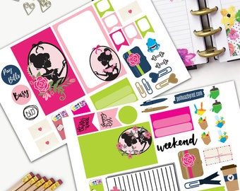 Girl Silhouette Theme Planner Weekly Sticker SMALL Kit, BIG Happy Planner Sticker, Weekly Set, Stickers, Printed, Cut, Pink, Cameo