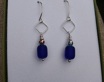 Navy Blue Seaglass and Argentium Silver Drop Earrings - With Hand Crafted Earwires and Headpins