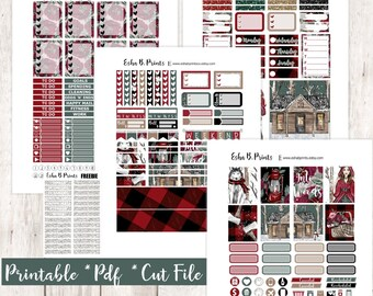 Into the Woods Printable Planner Stickers/Weekly Kit/For Use with Erin Condren/Cutfiles Fall November Glam Winter Cabin Forest Snow Trees