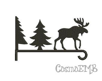 7 Size Moose & forest Embroidery design Machine Embroidery - Digital INSTANT DOWNLOAD