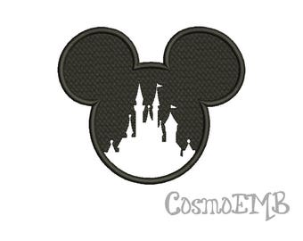 7 Size Mickey Castle Applique Embroidery design Machine Embroidery - Digital INSTANT DOWNLOAD
