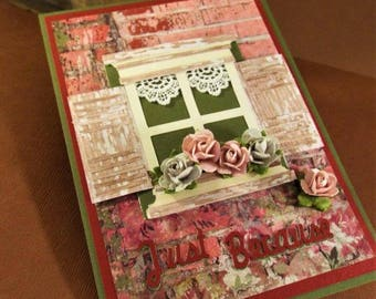 Just Because - handmade gift card holder for a housewarming or for anyone, anything, anytime, comes with a box