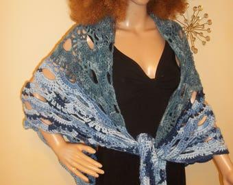 3 way Blue Jean Shawl