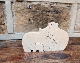 Wooden Bear Family