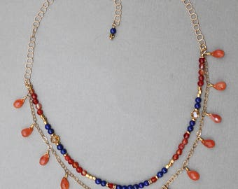 Carnelian Lapis Gemstone Double Strand Boho Necklace Gold Chain Handcrafted