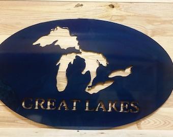 Great Lakes metal sign
