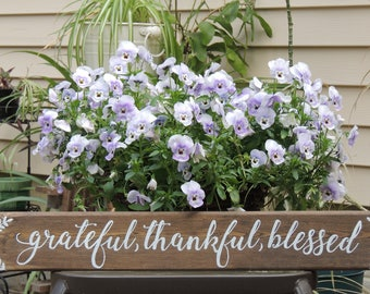 GRATEFUL, THANKFUL, BLESSED Laurel sign-Hand painted rustic wood sign-Rustic Farmhouse-Inspirational-Housewarming,Wedding Gift-24""