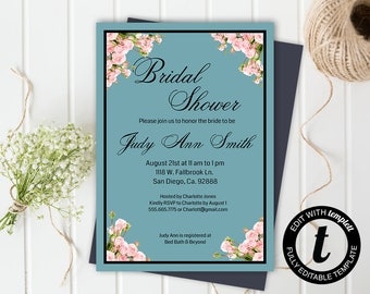 floral bridal shower invitation,bridal shower invitation template,wedding template,bridal shower,editable, teal ,5x7 template, roses