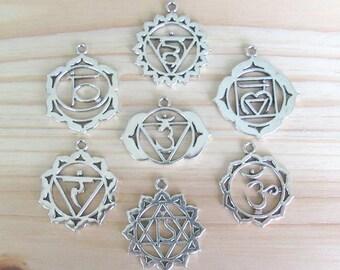 Chakra charm set, silver chakras, seven chakras, chakra pendants, chakra charms, 7 chakras, Yoga charms, yoga chakras, set of 7, wholesale