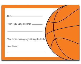 Basketball Thank You Note - Basketball Thank You Card - Digital Printable Thank You - Basketball Theme