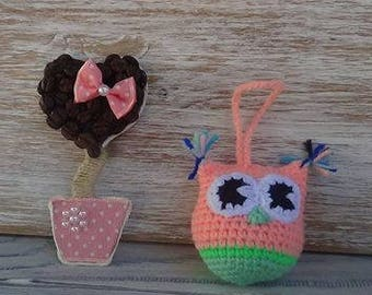 owl on a string, handmade, Knitted toys, Owl handmade, Amigurumi, souvenir, gift