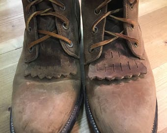 justin  leather lace up roper (ankle) boots size woman 7B