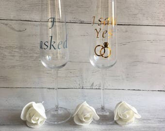 Engagement gift, i asked i said yes, engagement gift ideas, engagement glasses, engagement flutes,
