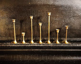 "Vintage Brass Candle Holders | Candlesticks | Set Of 7 | 3 - 9"""