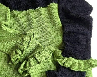 """Pullover with ruffles """"Greenblack"""". Greenary sweater. Green sweater. Cotton sweater. Black sweater. Top. Green top."""