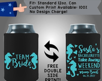 Team Bride Take Away Weekend Destination Beach Wedding Collapsible Fabric Bachelorette Party Can Cooler Double Side Print (Bachelorette54)