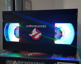 Retro VHS Ghostbusters Night Light Table Lamp. Order any film! Great personal gift. Man Cave. Office, bedroom.