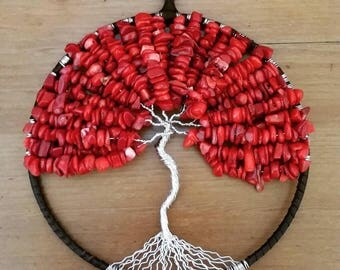 Large Red Coral Tree of Life Ornament