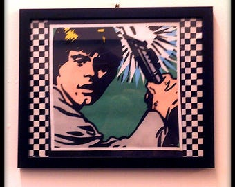 Limited Stock - Star Wars, Luke Skywalker, Pop Art, Collage, Wall Art, Picture - Framed Fabric with checkered detail.