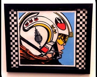 Limited Stock - Star Wars, Luke Skywalker, Pop Art, Collage, Wall Art, Picture - Fabric with checkered detail.
