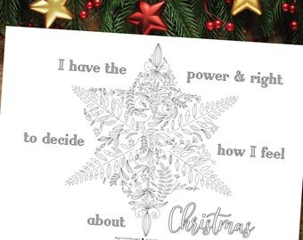 Positive Affirmation Coloring, Self Care Ideas, Christmas Anxiety Coloring, Quiet Christmas Activity