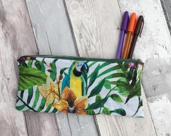 Parrot pencil case, pencil case, parrot fabric , bird pencil case, back to school, Floral pencil case, parrot, bird, parrot fabric, tropical