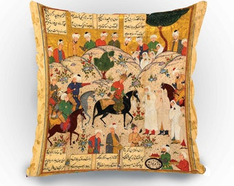 Shahnameh Cushion Cover Pillow Case Decorative Velvet  Designer pillow  Gift idea Persian Calligraphy art