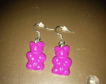 Large pink Teddy bear earrings.