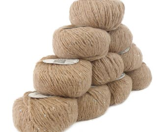 10 x 50 g luxury Knitting yarn Sapphire beige sequins, color 304