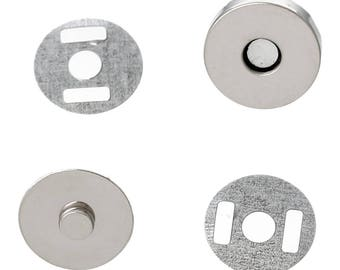 5 magnetic closures for bags, Pocket locks, magnetic, round, 14 mm
