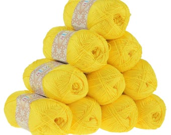 10 x 50 g crochet / Knitting yarn ALIZE FOREVER, #110 yellow