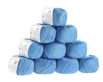 10 x 50g knitted yarn cotton twinkle, #87 Blue