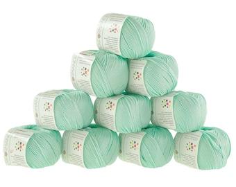10 x 50 g knitting wool cotton glamorous #136 Mint