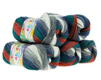 5 x 100 g yarn ALIZE SHERZOD # 6301 blue grey brick red