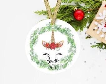 Personalized Unicorn Ornament - Unicorn Christmas Ornament - Personalized Christmas Ornament 2017 - Name Christmas Ornament - O-001