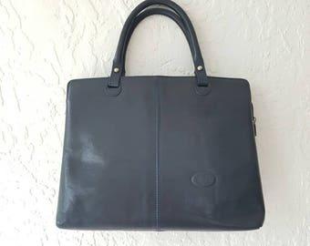 ITALIAN LEATHER BAG • Leather Shoulder bag • Blue Leather Handbag • Vintage Leather Bag • Shoulder Bag • Womens briefcase • Ladies work bag