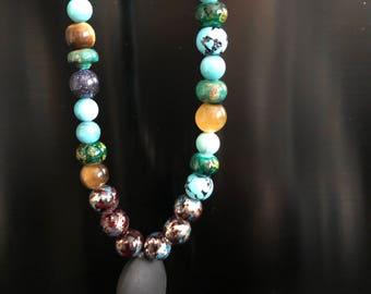 Small bead mala prayer necklace