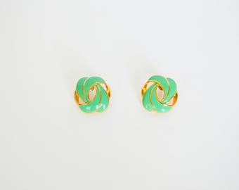 Loop de Loop Vintage 80's Gold and Green Swirl Earrings