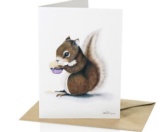 """A6 Greeting Card Squirrel """"Stolen Sweetness"""""""