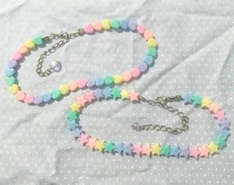Rainbow Hearts/Stars Beaded Choker (Fairy Kei, Spank!, Decora)