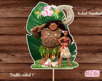 Moana Centerpieces - Printable Moana Centerpiece - Moana Birthday Party Decorations - Moana Cake Topper Double-Sided - Instant download