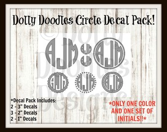 Circle Monogram Decal Pack - Vinyl Decal - Initials - Personalized - Customized
