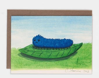Cute Cranky Grumpy Mad Caterpillar on Leaf  Greeting Card / Blank Notecard
