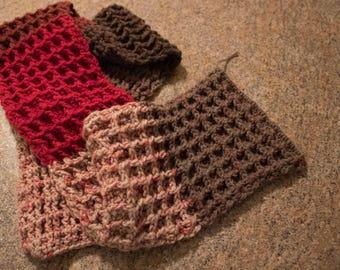Crochet Pattern Waffle Stitch Button Infinity Cowl