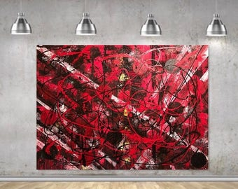Abstract Painting Modern Art, Red Black White, Original Abstract Painting on Canvas.
