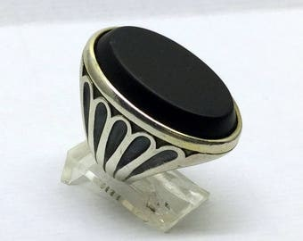 sterling silver onyx ring #252
