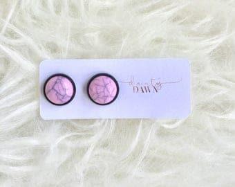 12mm Pink Marble : Black Stud Earring